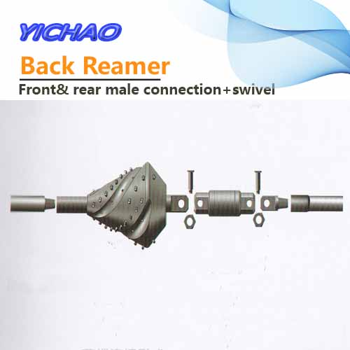 HDD rig back reamer with front rear male connection and swivel
