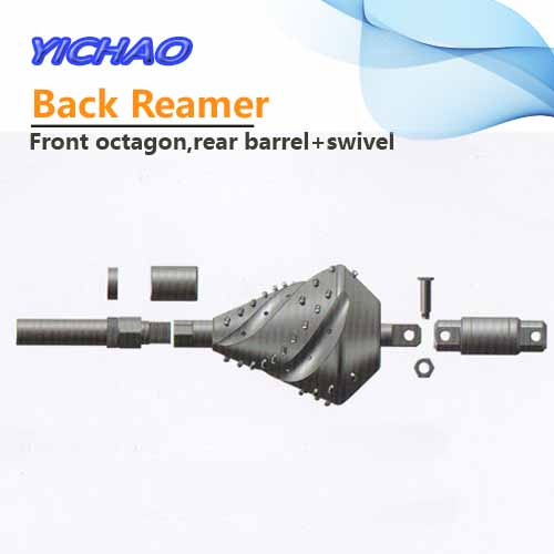 Fluted back reamer with front octagon rear barrel and swivel